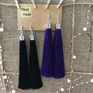 Jewelry - 2 Pairs Long Tassel Drop Earrings Silver Blue Blk